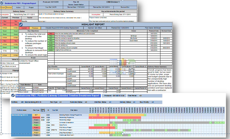PM3 screen showing project programme status