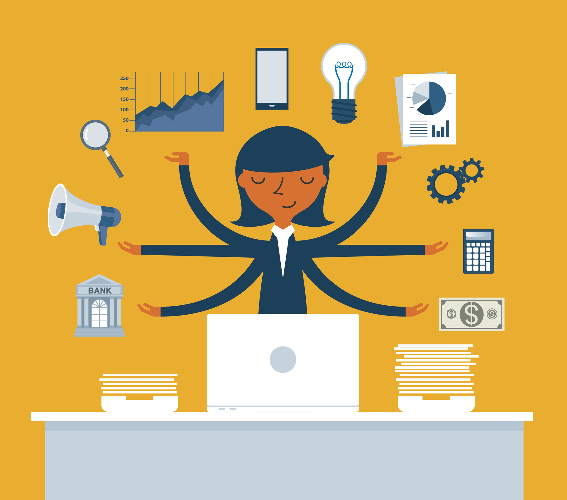 Cartoon of a woman at her desk juggling multiple tasks simultaneously