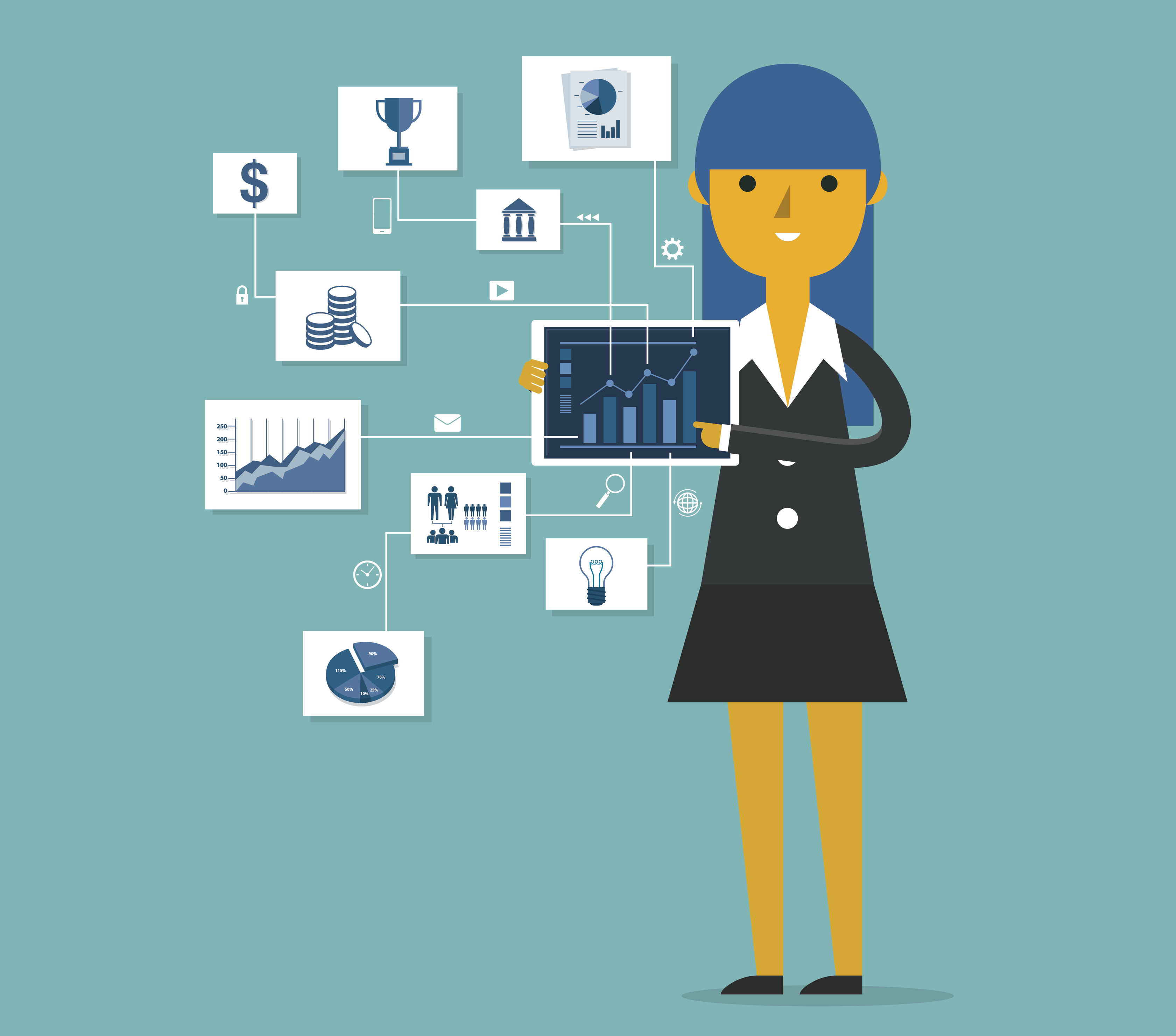 A graphic of a businesswoman pointing at chart and presentation