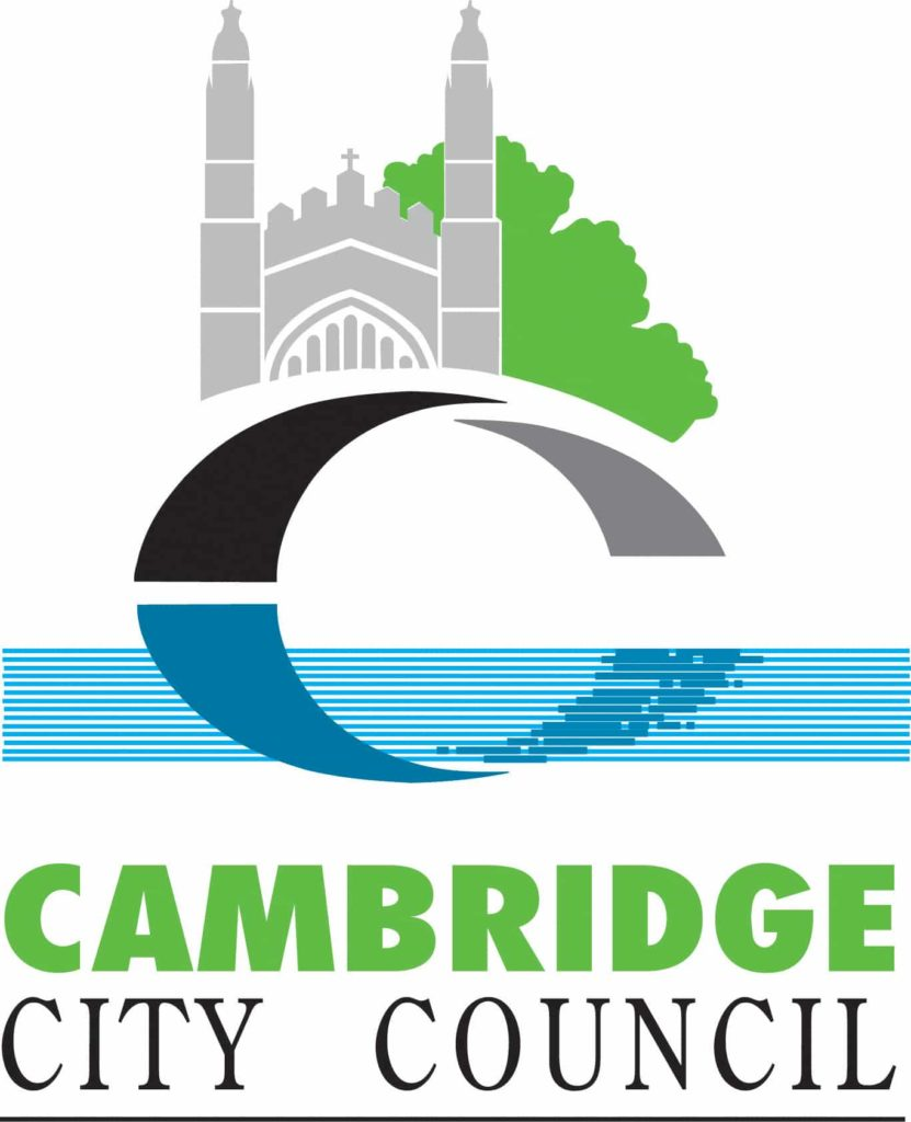 Cambridge City Council's logo featuring a bridge and a cathedral like building with a green tree behind them